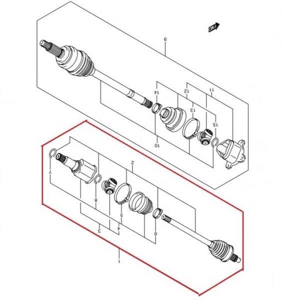 Привод передний правый SUZUKI GRAND VITARA TD54W J20A