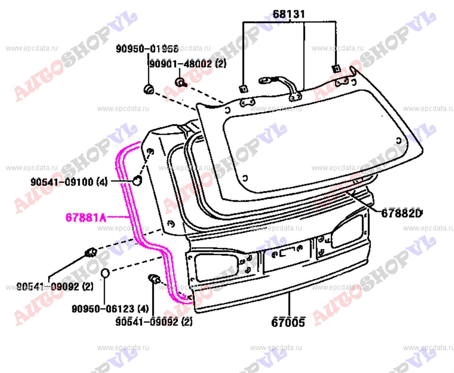 Уплотнительная резинка багажника TOYOTA VISTA ARDEO AZV50 67881-32040 контрактная