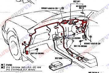 Проводка под торпеду TOYOTA CAMRY 07.1990 - 05.1991