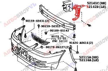 Крепление бампера переднее левое TOYOTA COROLLA SPACIO 06.1999г.