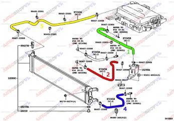 Патрубок системы охлаждения TOYOTA PRIUS 03.1999